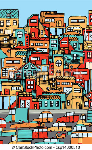 Overpopulation / Crowded city full of cars and houses. - csp14000510