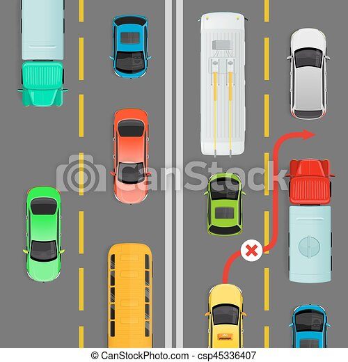 Overtaking in Dense Traffic Flow Vector Diagram