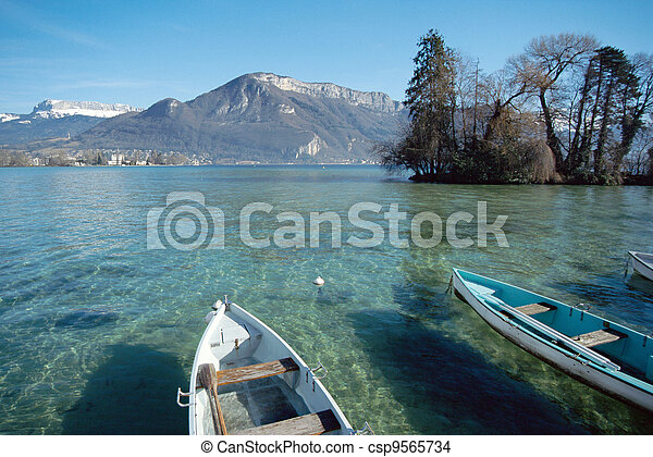 Overview of annecy lake with boats and mountains - csp9565734