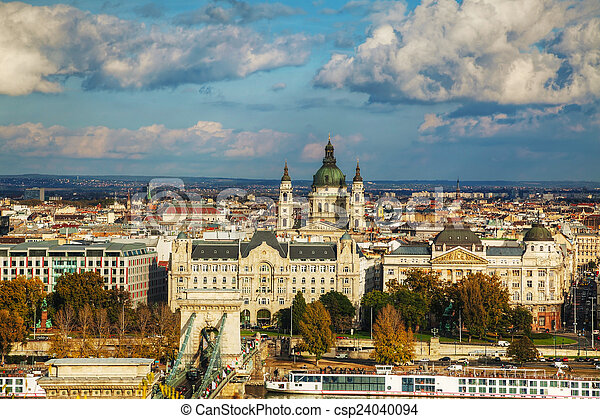 Overview of Budapest on a cloudy day - csp24040094