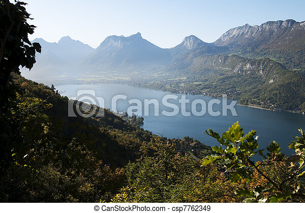 OVerview of lake Annecy at autumn on morning - csp7762349