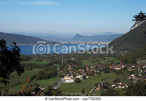 Overview of lake Annecy, city and villages - csp7762350