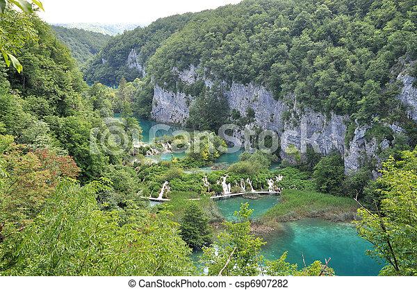 Overview of Plitvice waterfalls - csp6907282