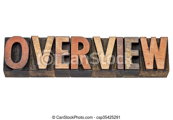 overview word in wood type - csp35425291
