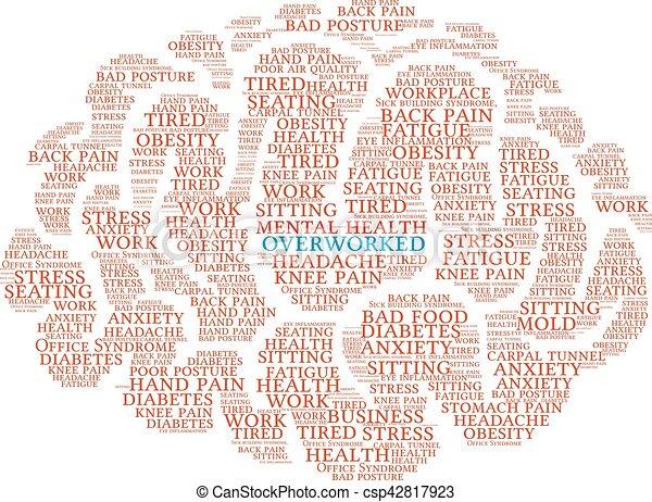 Overworked Brain Word Cloud - csp42817923