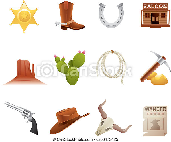 ovest selvaggio, icone - csp6473425