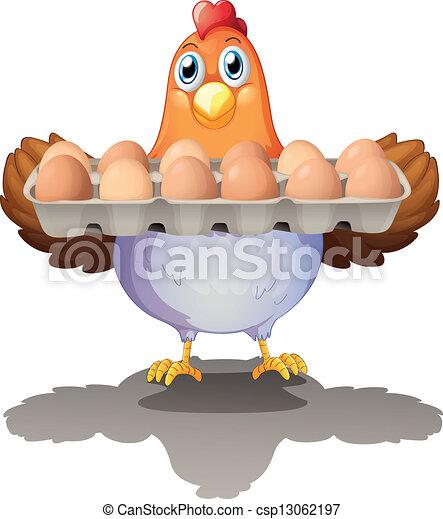 ovos, bandeja, galinha, segurando - csp13062197