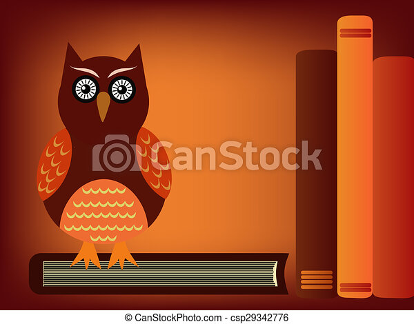 owl and books - csp29342776