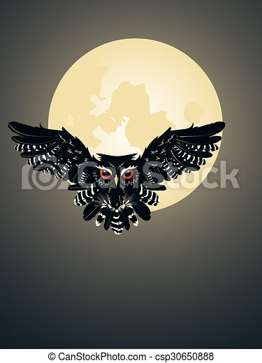 Owl and full moon. Night owl silhouette and big moon in ...