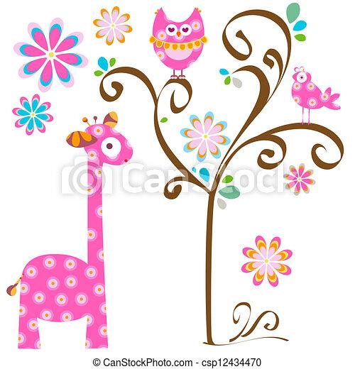owl and giraffe - csp12434470