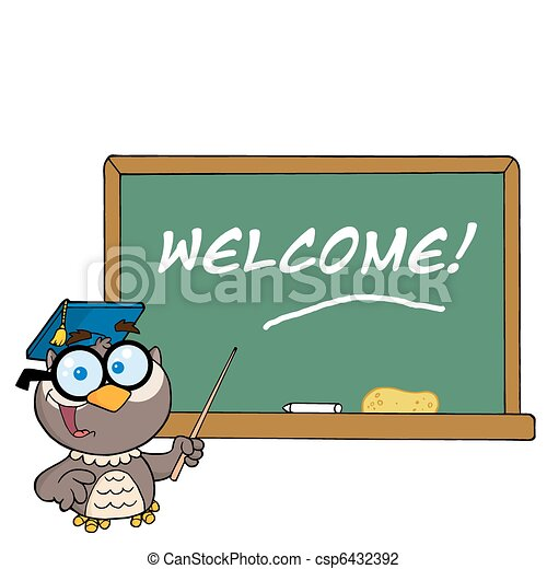 owl and welcome chalk board owl teacher cartoon character with rh canstockphoto com chalkboard clipart free png chalkboard arrow clipart free