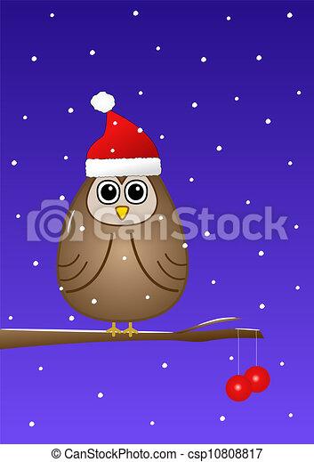 Owl at Christmas - csp10808817