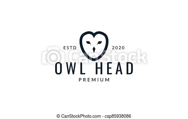 owl bird head line minimalist logo vector illustration design - csp85938086