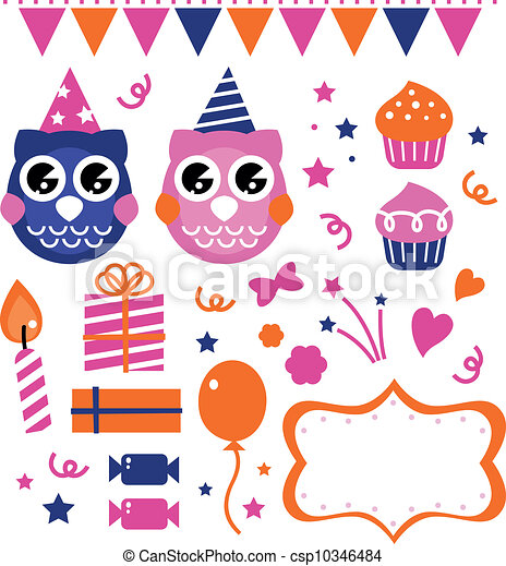 Owl birthday party design elements - csp10346484