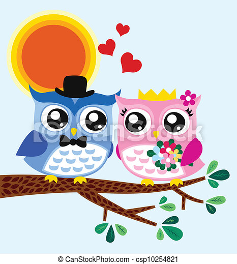 Owl bride and groom - csp10254821