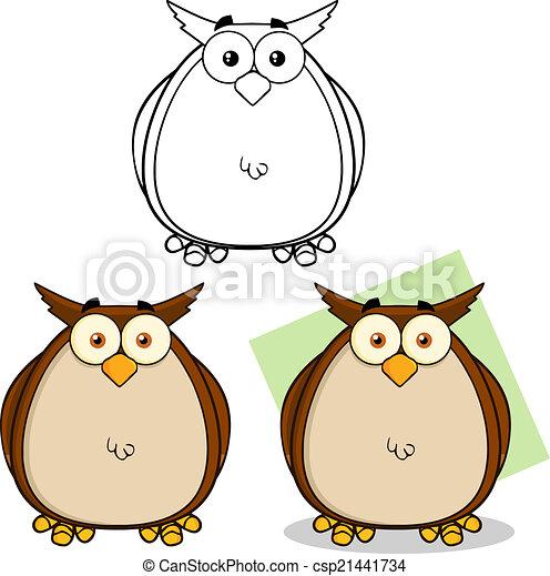 Owl Cartoon Character Collection  - csp21441734