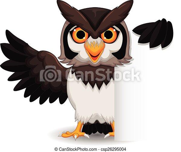 owl cartoon posing with blank sign - csp26295004