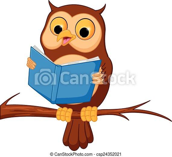 vector illustration of owl cartoon reading a book vector rh canstockphoto com Reading Clip Art Cute Owl Reading Book Clip
