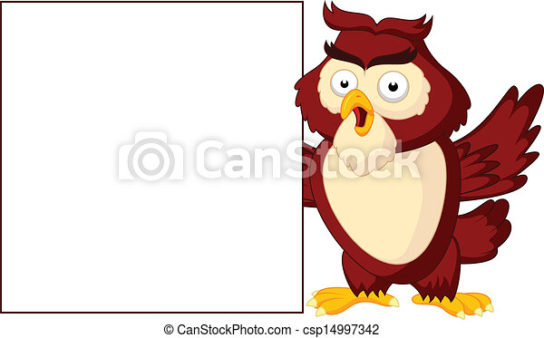 Owl cartoon with blank sign - csp14997342