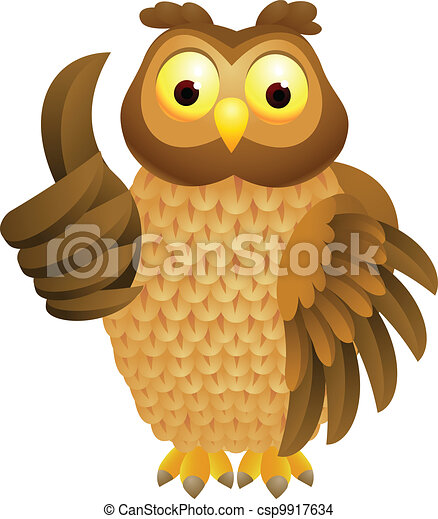 Owl cartoon with thumb up - csp9917634