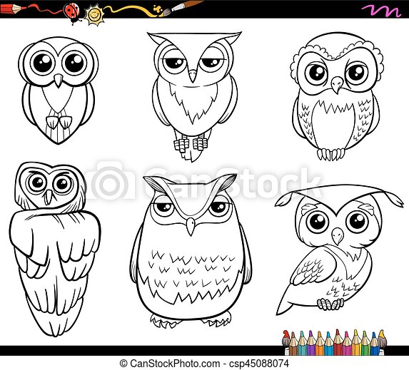 Owl Characters Coloring Page Black And White Cartoon Illustration