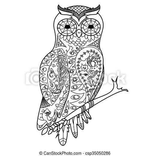 Owl Coloring Book For Adults Vector. Owl Bird Coloring Book For Adults  Vector Illustration. Anti-stress Coloring For Adult. CanStock