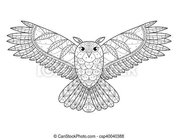 Owl Coloring Book For Adults Vector. Owl Bird Coloring Book Vector  Illustration. Anti-stress Coloring For Adult. Zentangle CanStock