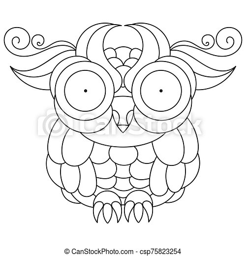 Owl Coloring Book For Kids And Adults Vector Illustration. CanStock