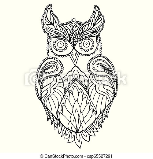 Owl Coloring Page For Children And Adults Pattern Isolated Cartoon Character Owl Decorative Element Vector Hand Drawn Anti Canstock