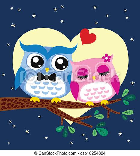 owl couple illustration  - csp10254824