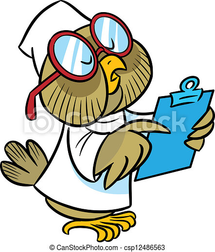 Owl-doctor. In the illustration cartoon owl doctor in a ...