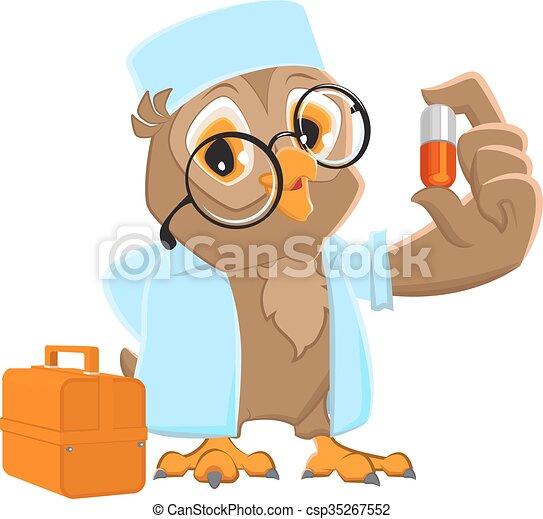 Owl doctor holding pill. owl ambulance in white coat ...