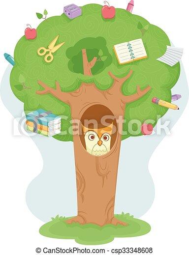 Owl Education Tree - csp33348608