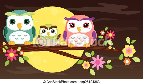 Owl Family - csp26124363