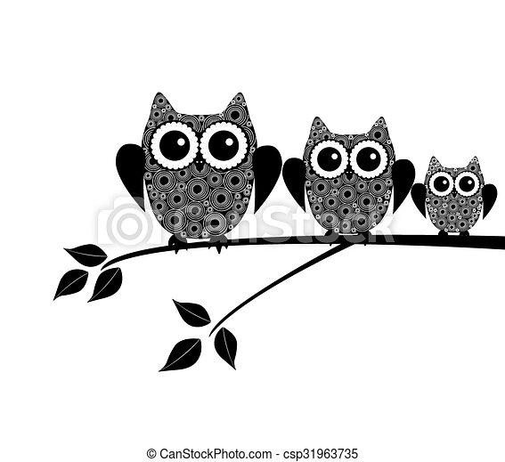 Owl Family - csp31963735