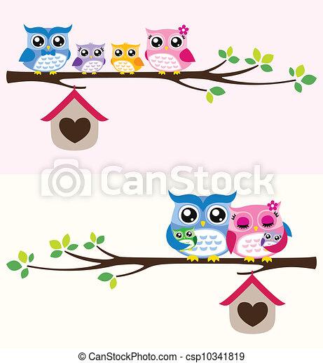owl family illustration - csp10341819