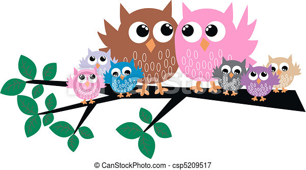 a cute owl family in a tree vectors illustration search clipart rh canstockphoto com Owl Family Clip Art Black and White owl family on branch clip art
