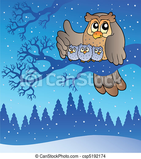 Owl family in winter - csp5192174