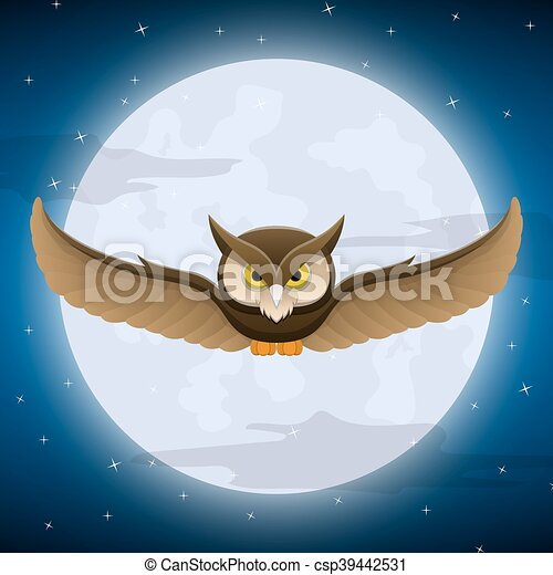 Owl flying with full moon and star background - csp39442531