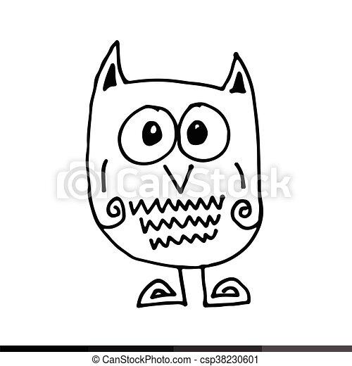 owl Hand draw Illustration design - csp38230601