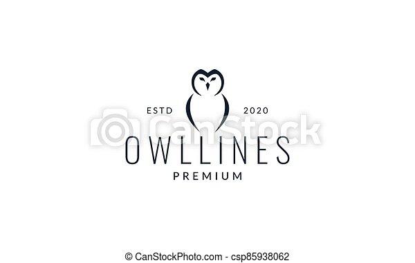 owl head and wings line modern logo vector illustration design - csp85938062