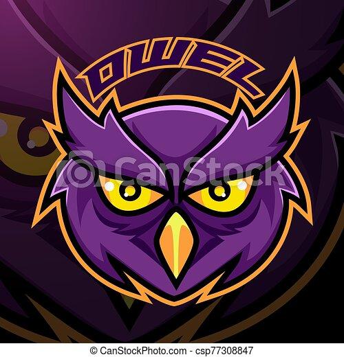 Owl head esport mascot logo design - csp77308847