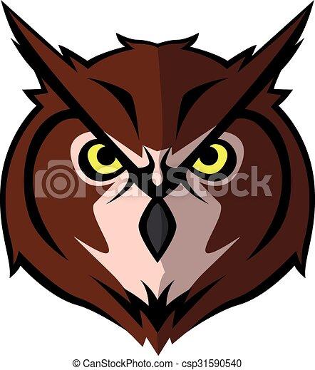 Owl head Illustration design - csp31590540
