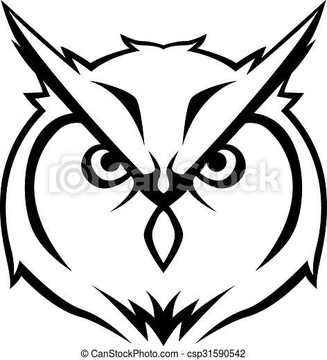 Owl head Illustration design - csp31590542