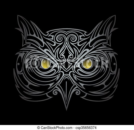 Owl head illustration - csp35656374