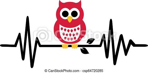 Owl heartbeat line - csp64720285
