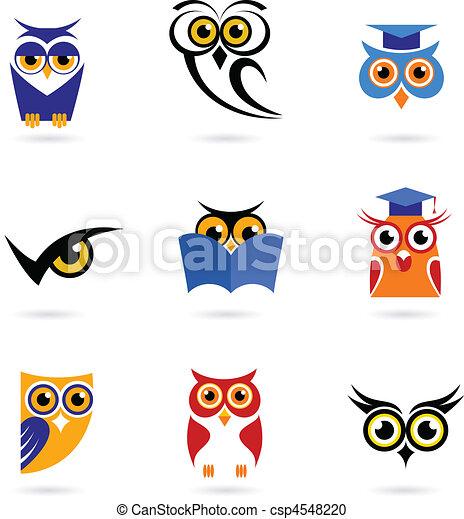 Owl icons and logos set.