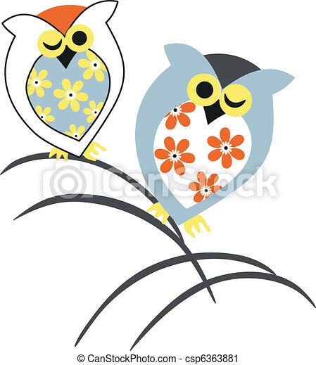 Owl illustration design - csp6363881
