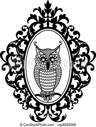 Owl in frame, vector. Owl in antique picture frame, vector background.