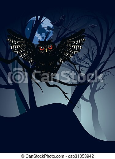 Owl in the Night Forest - csp31053942